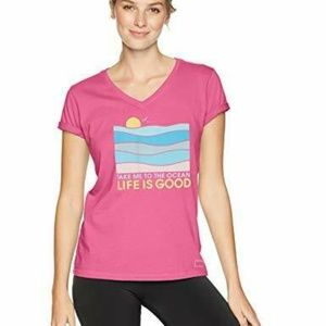Life is Good Womens T-Shirt Take Me to the Ocean X
